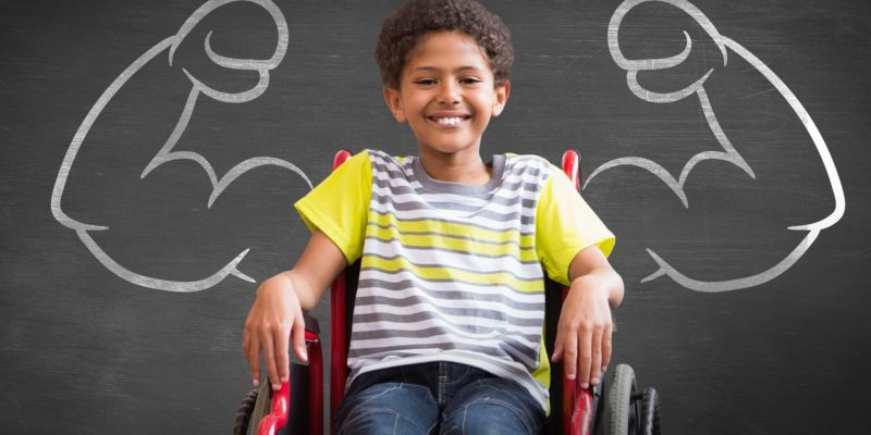 bigstock cute disabled pupil smiling at 99834734
